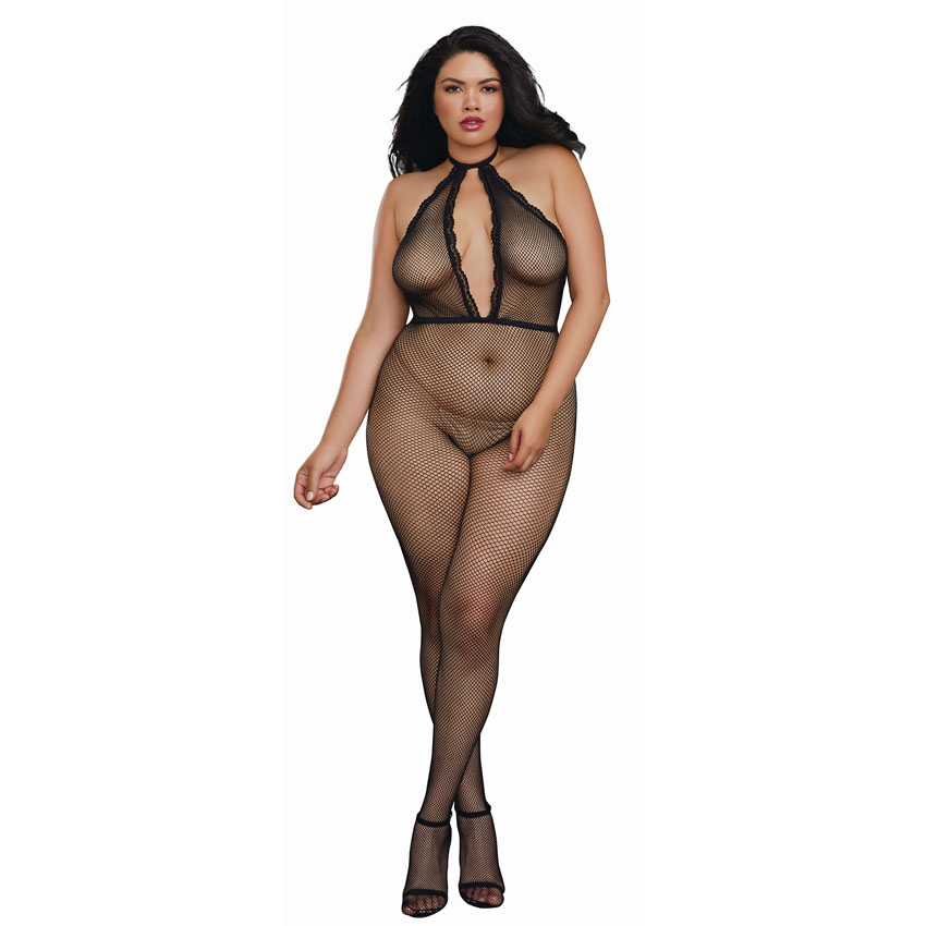 Plunging Fishnet Halter Bodystocking Q