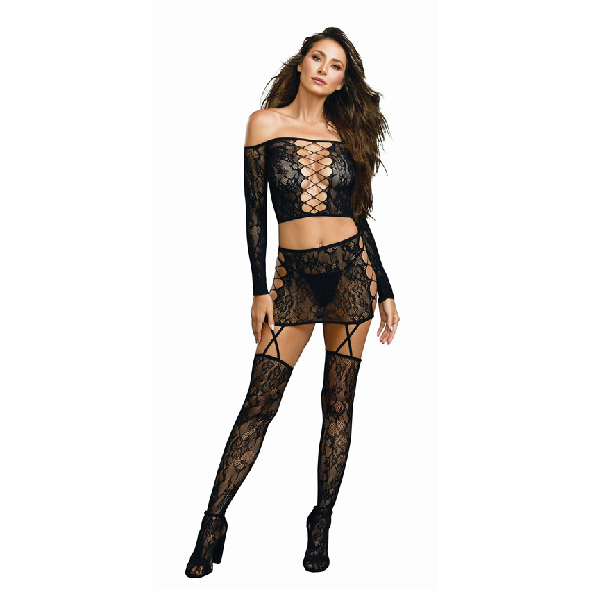 Lace Garter Skirt Set