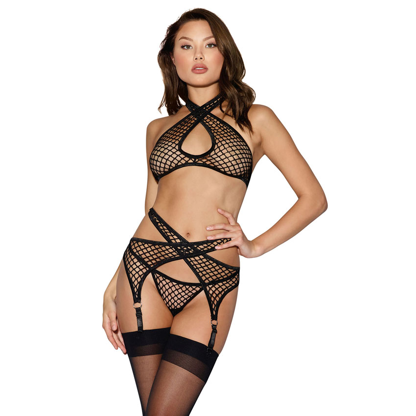 3PC Fishnet Garter Set