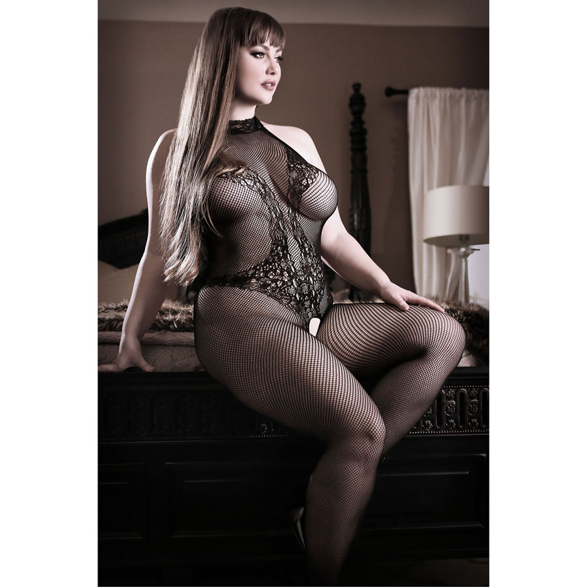 Back to Black Lace Bodystocking Plus