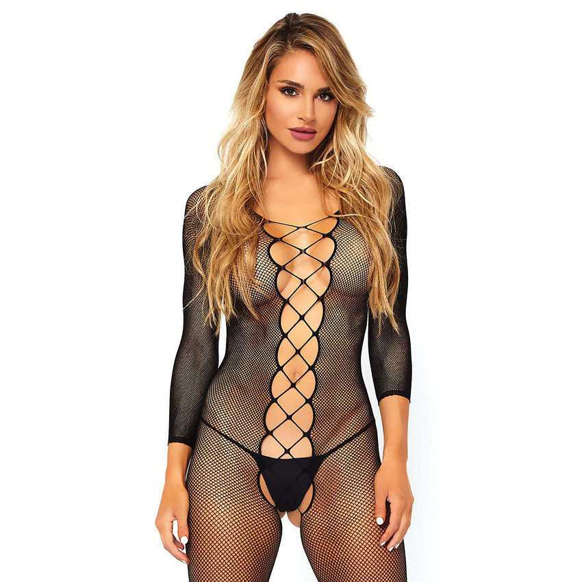 Faux Lace Up Bodystocking