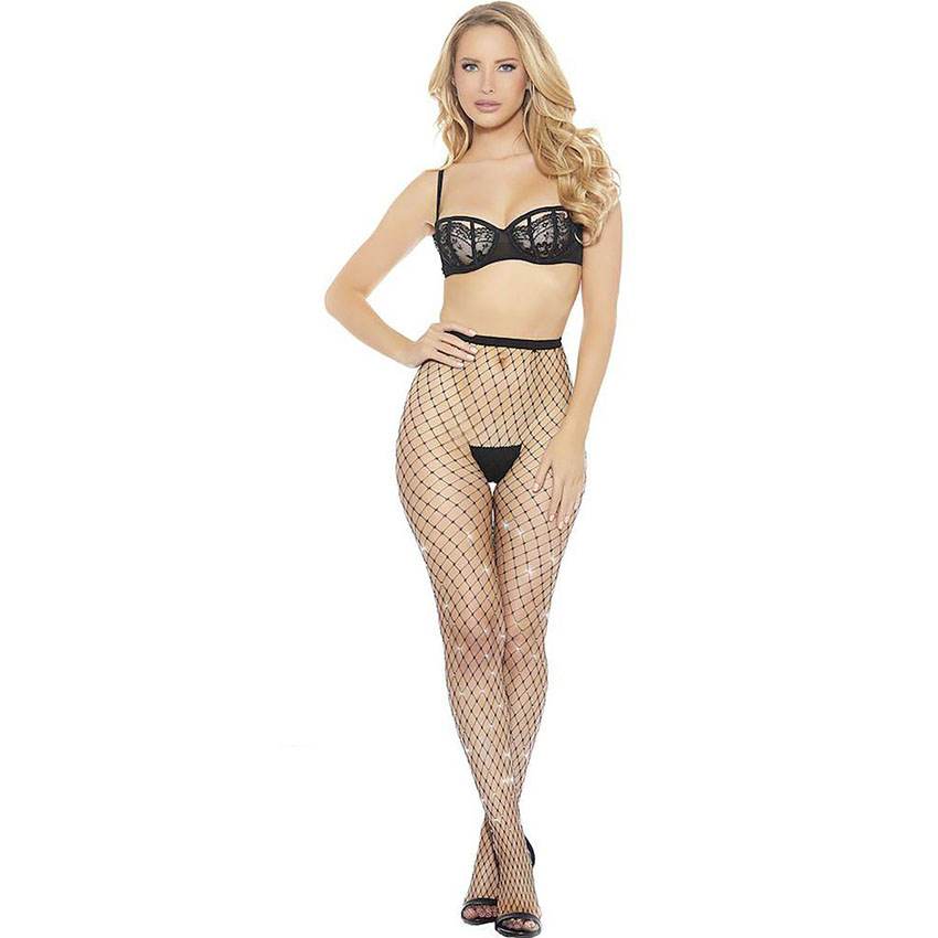 Rhinestone Diamond Fishnet Pantyhose
