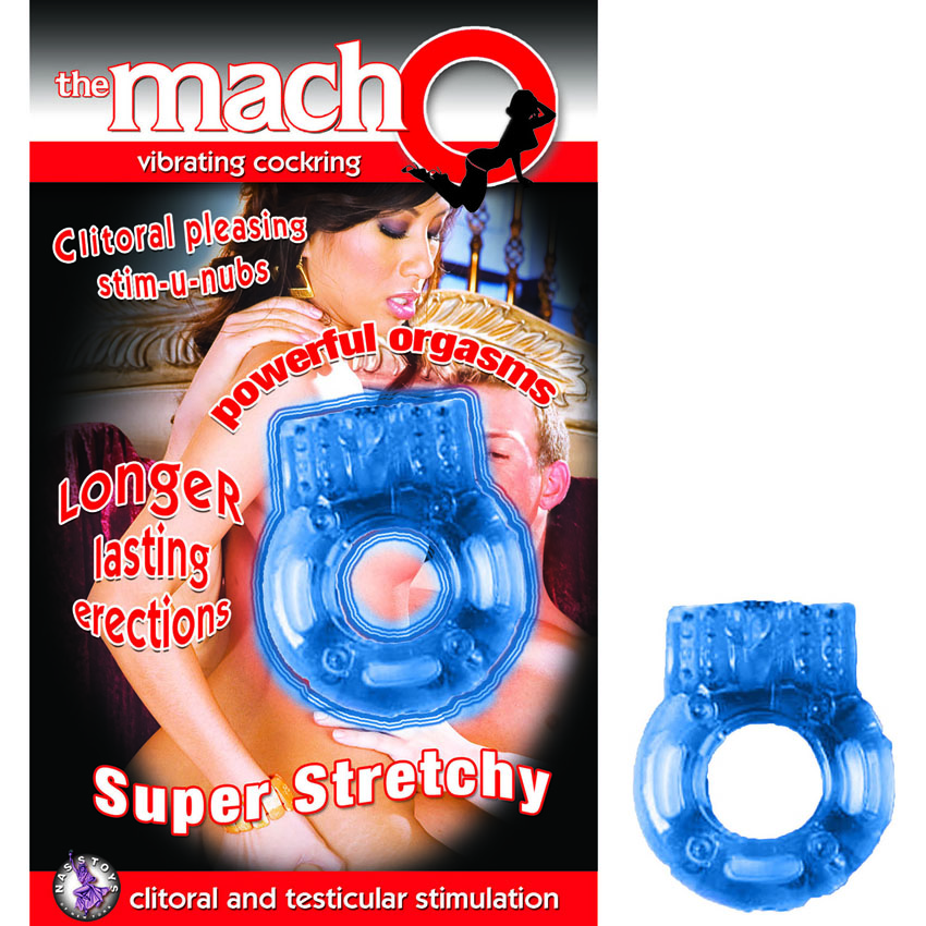 Macho Vibrating Cockring-Blue