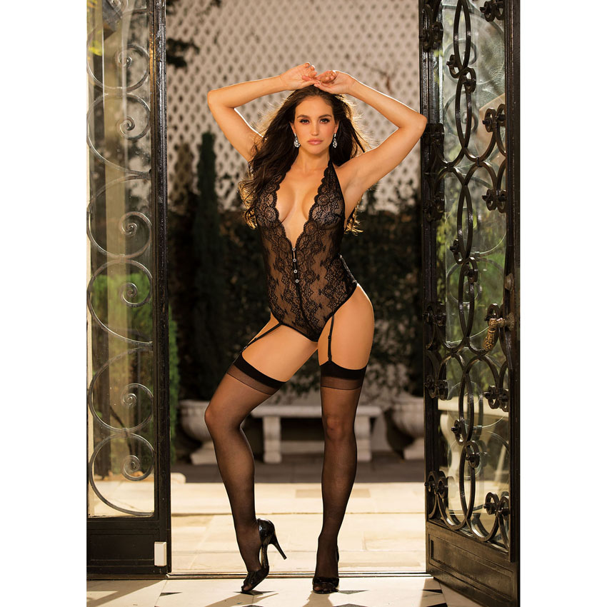 Stretch Lace Gartered Teddy