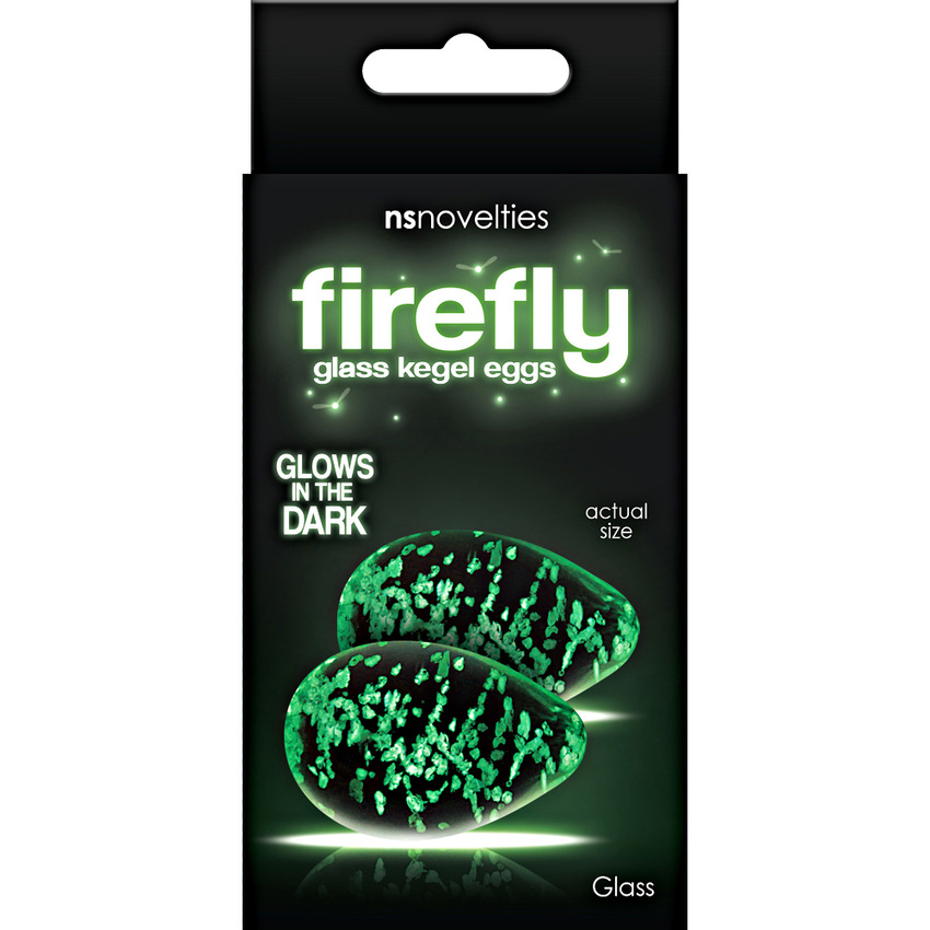 Firefly Glow in the Dark Glass Kegel Eggs - Clear