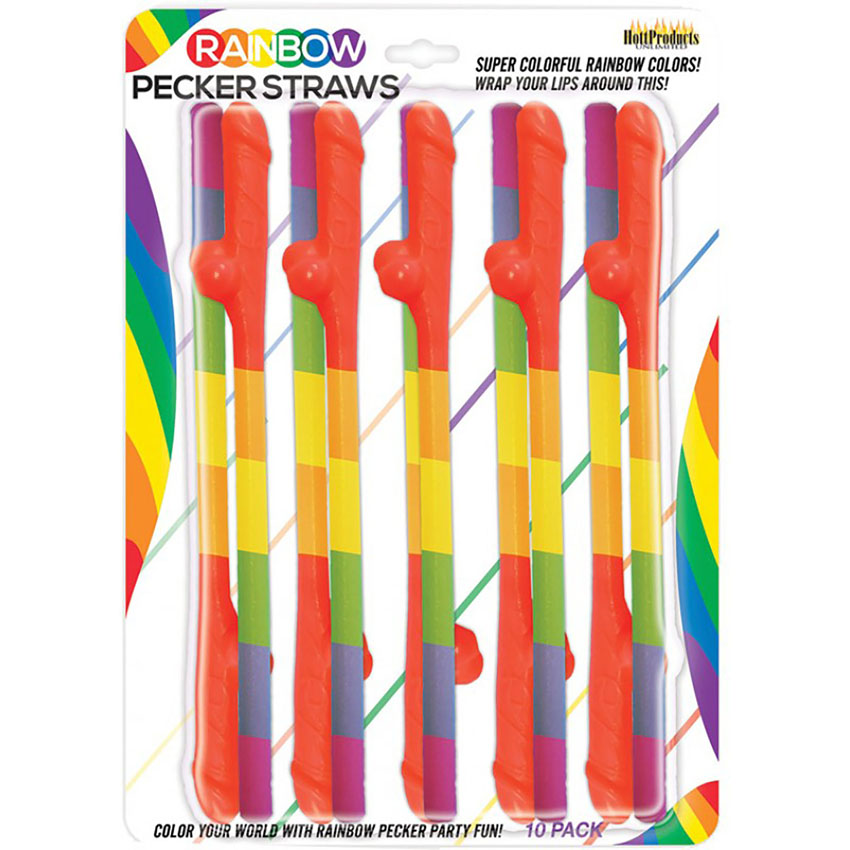 Rainbow Pecker Straws - 10 pack